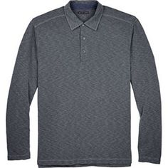 Age of Wisdom Mens Long Sleeve Polo Buttoned Shirt Heather Charcoal Gray NEW #AgeofWisdom #PoloRugby