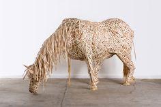 """""""Horse"""", wood shavings and crutch - """"Caballo"""", virutas de madera y muleta.   (me: friend of Wonky Donkey? - yo: ¿colega de Wonkey Donkey?).        Courtesy: Federico Uribe, Bogotá (Colombia) - Miami, Florida (USA)."""