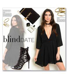 """Blind Date"" by luvsassyselfie ❤ liked on Polyvore featuring moda, Yves Saint Laurent, Kendra Scott, DateNight, black e dress"