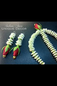 Fresh flower headpiece and earrings adorned by brides to be on their 'henna' ocassion.
