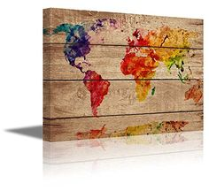 Michael tompsett urban watercolor world map canvas art by wall26 canvas prints wall art abstract colorful world map on vintage wood background gumiabroncs Gallery