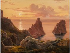 Artwork by Johan Christian Dahl, EVENING VIEW OVER THE FARAGLIONI CLIFFS IN CAPRI, Made of Oil on paper mounted on board