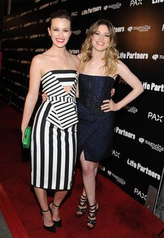 Leighton Meester Photos - Actresses Leighton Meester and Gillian Jacobs arrive at the premiere of Magnolia Pictures' 'Life Partners' at ArcLight Hollywood on November 2014 in Hollywood, California. - 'Life Partners' Special Screening — Part 2 Gillian Jacob, Magnolia Pictures, Strapless Dress Formal, Formal Dresses, Leighton Meester, Green Clutches, Life Partners, Red Carpet Fashion, Striped Dress