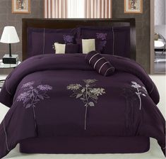 Purple Bedding | 7pcs Queen Purple Floral Embroidered Comforter Set | eBay