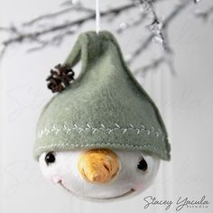Paper Clay Christmas Ornament Sculpture Snowman by staceyyacula