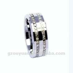 Para hombre y para mujer de tungsteno simulada del diamante del anillo de bodas, tungsteno anillo de bodas, tungsteno anillo con piedra de la cz