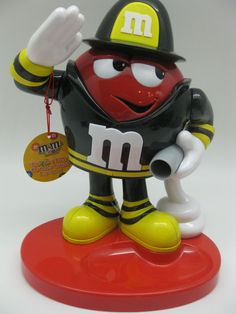 M & M's Brand Red Fireman Dispenser Candy Dispenser w/Red Character Toy #MMs