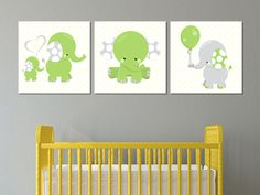 Green Elephants - Wall Print Decor Art