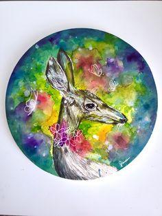 Watercolor Deer, Christmas Card Holders, Custom Stickers, Activities For Kids, Original Artwork, Moose Art, Diy Projects, Vibrant, Scrapbook
