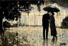 "Saatchi Online Artist Loui Jover; Drawing, ""rainy day rendezvous"" #art"