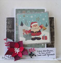 Card by DT member Marleen with Collectables Eline's Poinsettia (COL1393) and Cardtopper set Eline's Favorites (CT1505) from Marianne Design