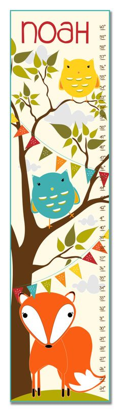 Fox and Owls Personalized Growth Chart
