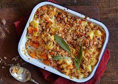Image: Gluten-free roast vegetable and hazelnut crumble