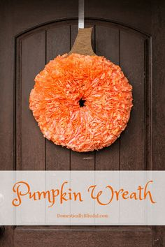 Coffee Filter Pumpkin Wreath - - Coffee filter crafts are no new trend in our crafting world, but this fun little twist on the technique puts a nice touch to any front door. This adorable pumpkin wreath is a great little project …. Fall Wreath Tutorial, Diy Fall Wreath, Wreath Crafts, Fall Diy, Flower Tutorial, Fall Wreaths, Wreath Ideas, Door Wreaths, Flower Crafts