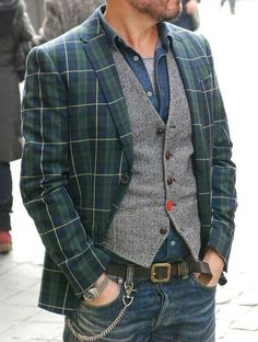 Mens Fashion Rugged – The World of Mens Fashion Mode Old School, Blazer En Tweed, Stylish Men, Men Casual, Mode Outfits, Fashion Outfits, Plaid Suit, Herren Outfit, Inspiration Mode