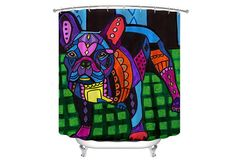 French Bulldog Shower Curtain Dog Shower Curtain - Frenchie Dog Lovers Bathroom Decor gift by Heather Galler