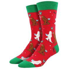 ed34a08e6b7 Purple Leopard Boutique - Men s Crew Socks Christmas Holiday Mythical  Kissmas Bigfoot Yeti Red