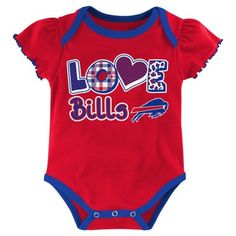 Child Bodysuits NFL Buffalo Bills Team Color 12 Months, Girl's, Multicolored White