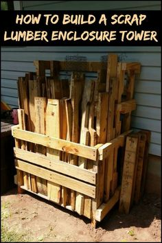(Pallet and Loose Lumber Enclosure Tower) Running Out of Storage Space or Just Want to Organize Your Scrap Timber Pile? Here's a Solution The post P. (Pallet and Loose Lumber Enclosure Tower) appeared first on Woodworking Diy. Woodworking Furniture, Woodworking Crafts, Woodworking Shop, Woodworking Plans, Woodworking Basics, Woodworking Jointer, Woodworking Techniques, Woodworking Equipment, Workbench Plans
