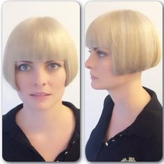 Colour by ~ Tyler. Cut by ~ Cheryl At our EAST end location that is open as well today (Sundays) Shaved Bob, Shaved Hair Cuts, Short Hair Cuts, Short Hair Styles, Short Bangs, Classic Hairstyles, Short Bob Hairstyles, Bun Hairstyles, Bob Haircuts
