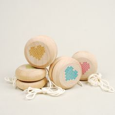 cross my heart yoyo set of four by somethingshidinghere on Etsy, $40.00
