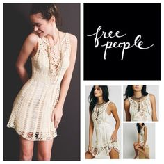 "Free People Ivory Macramé Mini Dress.  NWT. Free People Ivory Combo Macramé Mini Dress, 55% ramie, 45% cotton, dry clean, 19"" armpit to armpit (38"" all around) 34"" waist, 37"" length, lined, measurements are approx.  No Trades... Free People Dresses Mini"