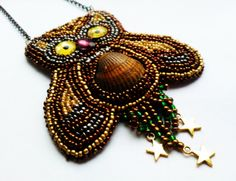 Owl Necklace Owl Pedant Embroidered Necklace by DeerestJewelry