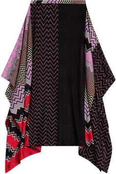 Missoni Mare Draped Midi-Skirt with Patchwork Print