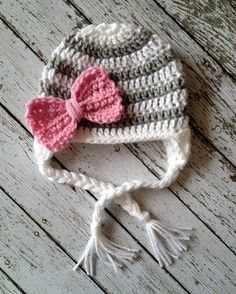 omg--Ava needs this!!  Stripe Big Bow Beanie in White and Gray with by mamamegsyarnshoppe, $30.00