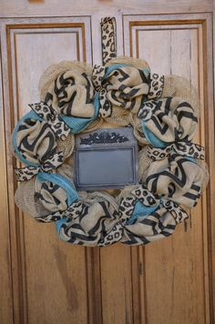 Black Chevron Burlap Wreath with Leopard