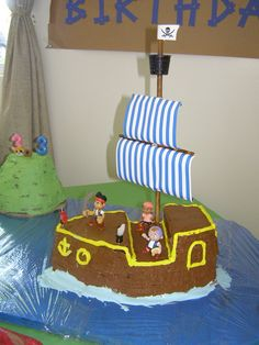 Jake and the Neverland Pirates Birthday Party Ideas. Drew bug wants a Jake party. Pirate Birthday Cake, Pirate Party, Pirate Theme, 4th Birthday Parties, Birthday Bash, Birthday Ideas, Gateaux Cake, Baby Shower, First Birthdays