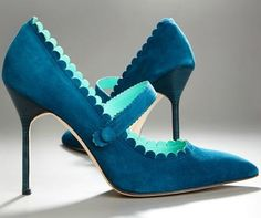 Peacock Blue heels, scalloped