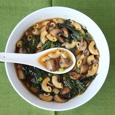 Cremini Mushroom, Rainbow chard, shallot soup. Vegan - Vegan Richa