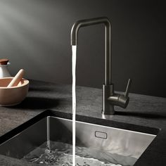 Buy the Vellamo Koro Single Lever Mono Kitchen Mixer - Gunmetal Grey from Tap Warehouse and ditch the standard chrome kitchen tap for something with a bit more pazzazz. Get free UK delivery when you spend over today. Black Kitchen Taps, Black Kitchens, Kitchen Mixer, Kitchen Sink, Shower Fittings, 5 Bar, Mixer Taps, Mixers, Ceramic Plates