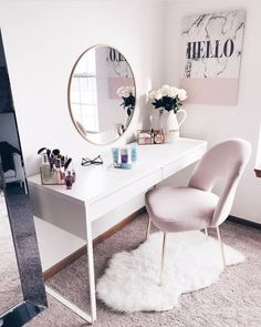 Super simple, cheap home improvement ideas and projects - Zimmer deko ideen - Beauty Room Pink Bedroom Decor, Bedroom Ideas, Bedroom Small, Diy Bedroom, White Desk Bedroom, Nice Bedrooms, Girls Bedroom, Small Bathroom, Mirror Bedroom