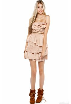 ruffled can can dress