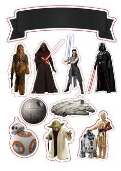 Topo de Bolo Star Wars - Star Wars Printables - Ideas of Star Wars Printables - Bolo Star Wars Ewok, Chewbacca, Star Wars Birthday, Star Wars Party, Molde Star Wars, Printable Star Wars, Free Printable, Meninas Star Wars, Star Wars Cake Toppers
