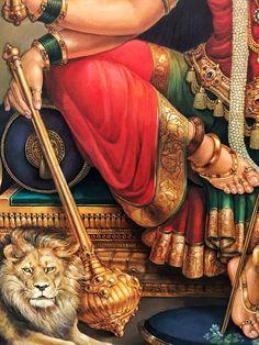 Kala Kshetram — Durga by Dr. Shiva Hindu, Shri Ganesh, Shiva Art, Shiva Shakti, Hindu Deities, Hindu Art, Krishna Radha, Durga Ji, Saraswati Goddess