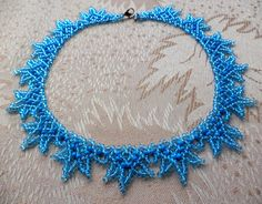 Free pattern for beaded necklace Blue Snowflakes | Beads Magic