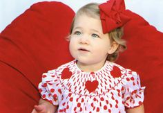 Smocked Heart Polka Dot Dress from Smocked Auctions