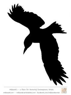 Bird Silhouette Stencil Template Crow at www.milliande-printables.com  Free printable bird Silhouette Template Collection - Crow Silhouettes   LOVE IT !!!