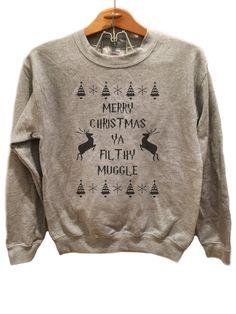 Merry Christmas Ya Filthy Muggle Sweatshirt - Black print