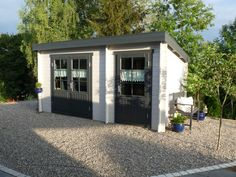 Pultdach Gartenhaus Modell Maria-28 mit Anbau - A-Z Gartenhaus-GmbH