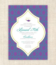 Moroccan Theme Party Invitations (Printable Digital File)