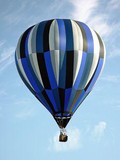 Blue and white striped hot air balloon at the Ballunar Liftoff event in Clear Lake, Texas (Southeast Houston).