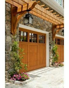 Pergola for Garage. Love the pergola detail above the door. Could be a very nice detail to add over our large shed garage door. Garage House, Garage Entry, Garage Door Makeover, Garage Exterior, House Roof, Jeep Garage, Garage Room, Window Shutters Exterior, Carriage House Garage