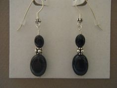 Rainbow Obsidian and Black Onyx Earrings with Sterling Silver