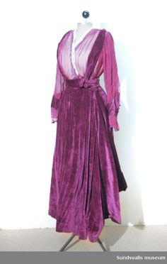 Dress: ca. 1917, Swedish, chiffon, velvet.