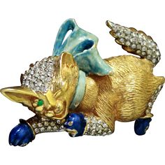 K.J.L. KENNETH J. LANE Ultra Rare 1960's Enamel and Diamante 'Winking  from sharons-sparkles on Ruby Lane