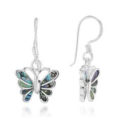 Amazon.com: 925 Sterling Silver Abalone Shell Butterfly Dangle Hook Earrings 1'' Fashion Jewelry for Women - Nickel Free: Jewelry